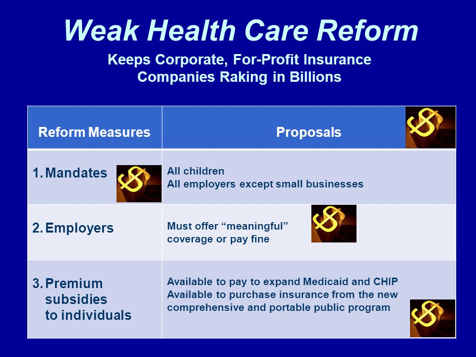 Keeps Corporate, For-Profit Insurance Companies Raking in Billions Reform MeasuresProposals 1.Mandates All children All employers except small businesses 2.Employers Must offer meaningful coverage or pay fine 3.Premium subsidies to individuals Available to pay to expand Medicaid and CHIP Available to purchase insurance from the new comprehensive and portable public program Weak Health Care Reform