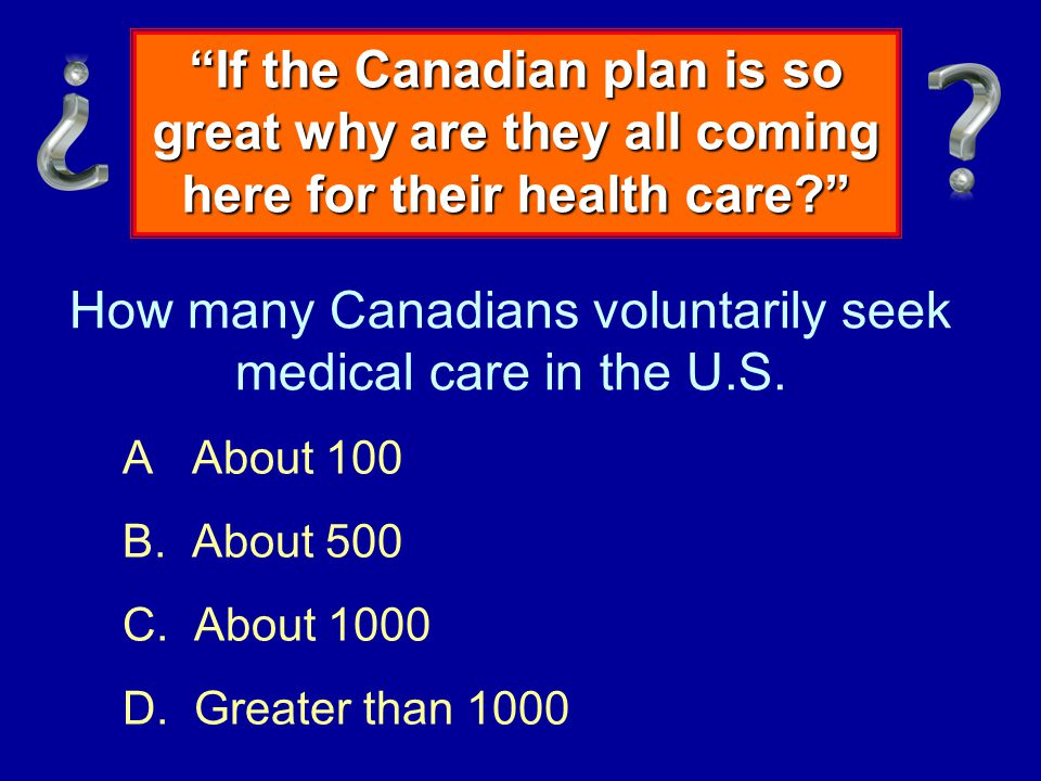 How many Canadians voluntarily seek medical care in the U.S.