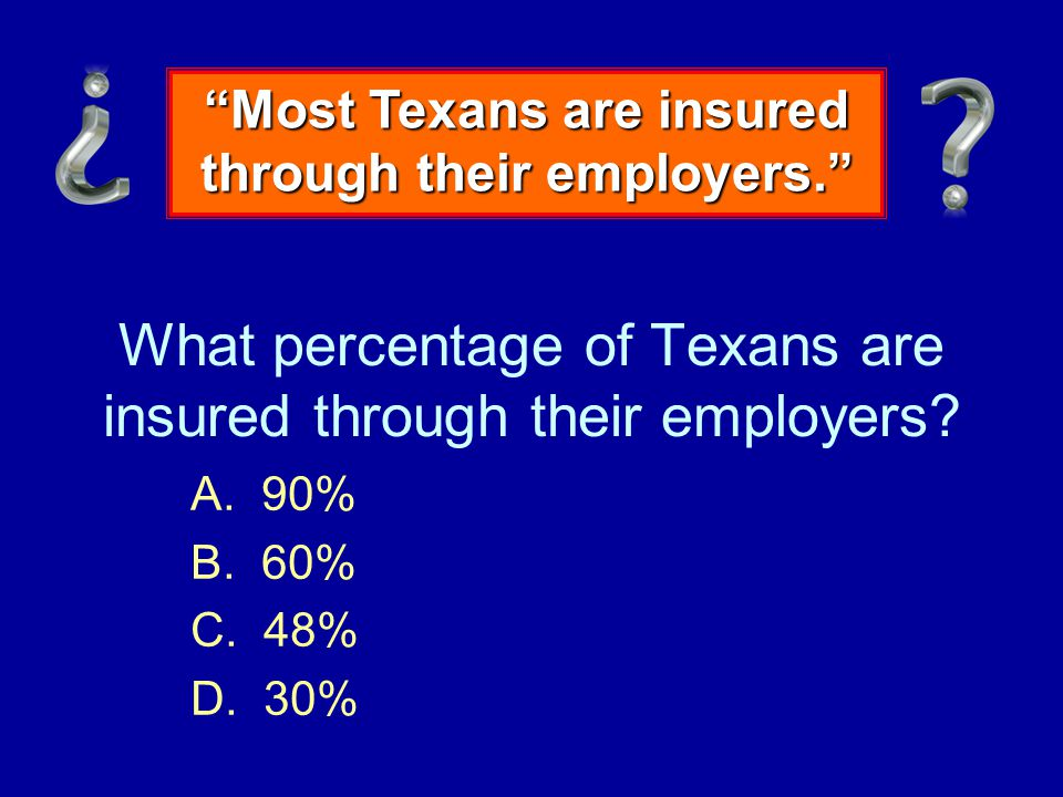For-Profit Health Insurance Employer-sponsored health insurance for a family of 4 $12,000 / year Minimum wage in Texas $12,000 Median annual income in Texas $43,000 Source: KFF/HRET Survey of Employer Sponsored Health Benefits 2001-06; Bureau of Labor Statistics Consumer Price Index US City Average of Annual Inflation (April to April), 2001-06; Bureau of Labor Statistics, Seasonally Adjusted Data from the Current Employment Statistics Survey 2001-06 Paid by Employers and Employees SUSTAINABLE.