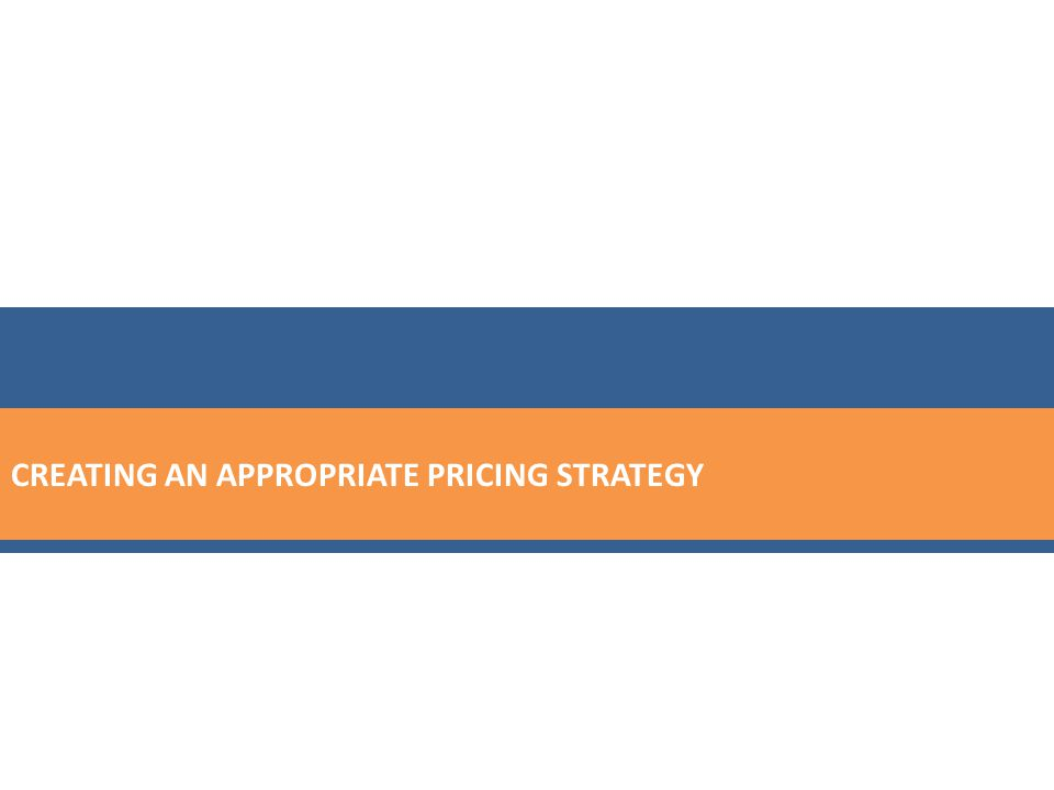 CREATING AN APPROPRIATE PRICING STRATEGY