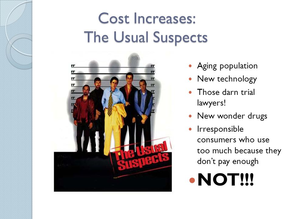 Cost Increases: The Usual Suspects Aging population New technology Those darn trial lawyers.