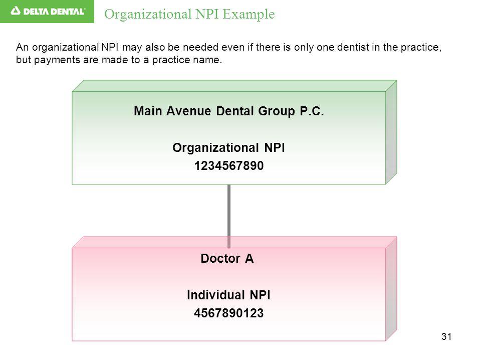 31 Organizational NPI Example Main Avenue Dental Group P.C.