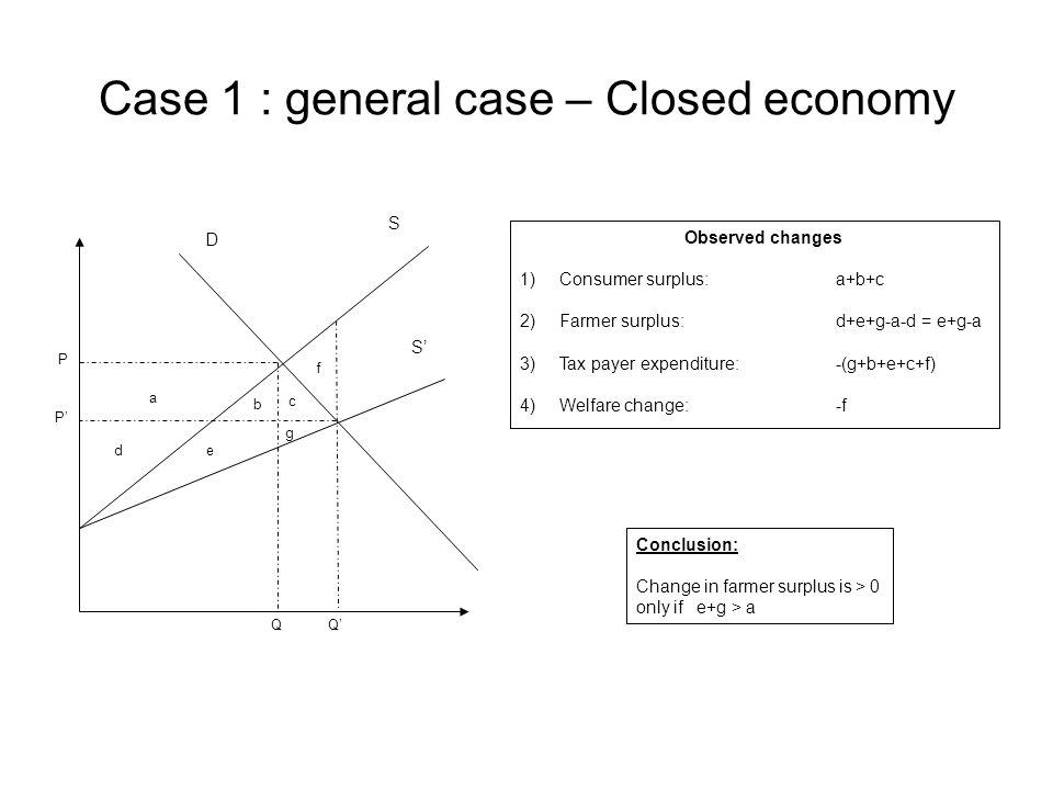 Case 1 : general case – Closed economy a de b f c g P P' QQ' Observed changes 1)Consumer surplus: a+b+c 2)Farmer surplus:d+e+g-a-d = e+g-a 3)Tax payer expenditure:-(g+b+e+c+f) 4)Welfare change:-f Conclusion: Change in farmer surplus is > 0 only if e+g > a D S S'