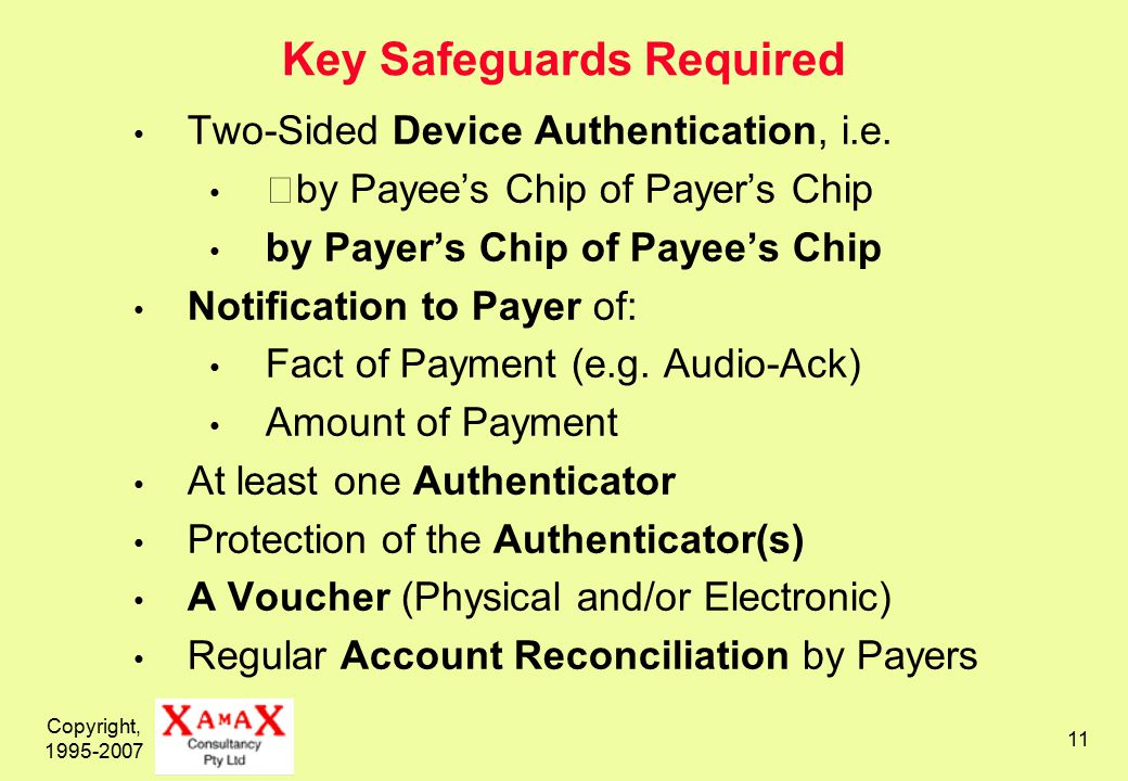Copyright, 1995-2007 11 Key Safeguards Required Two-Sided Device Authentication, i.e.