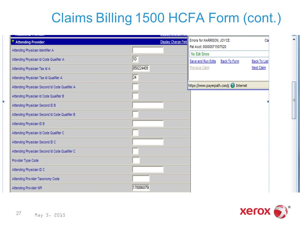 Claims Billing 1500 HCFA Form (cont.) May 3, 2015 27