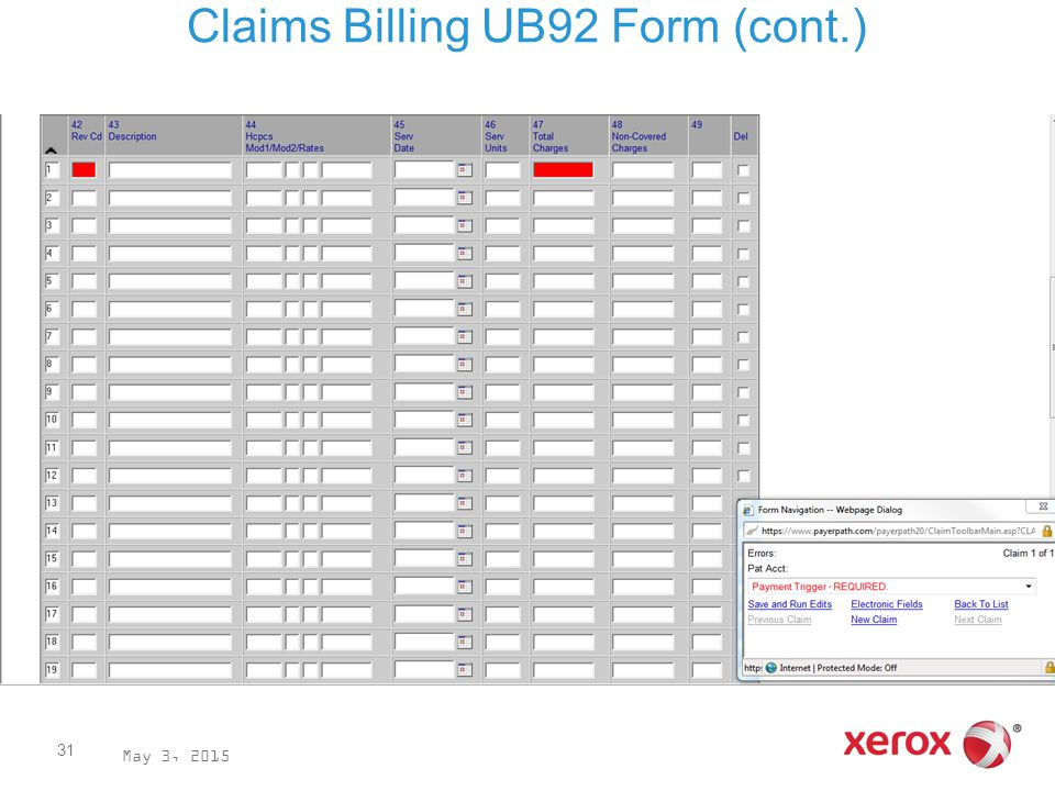 Claims Billing UB92 Form (cont.) May 3, 2015 31