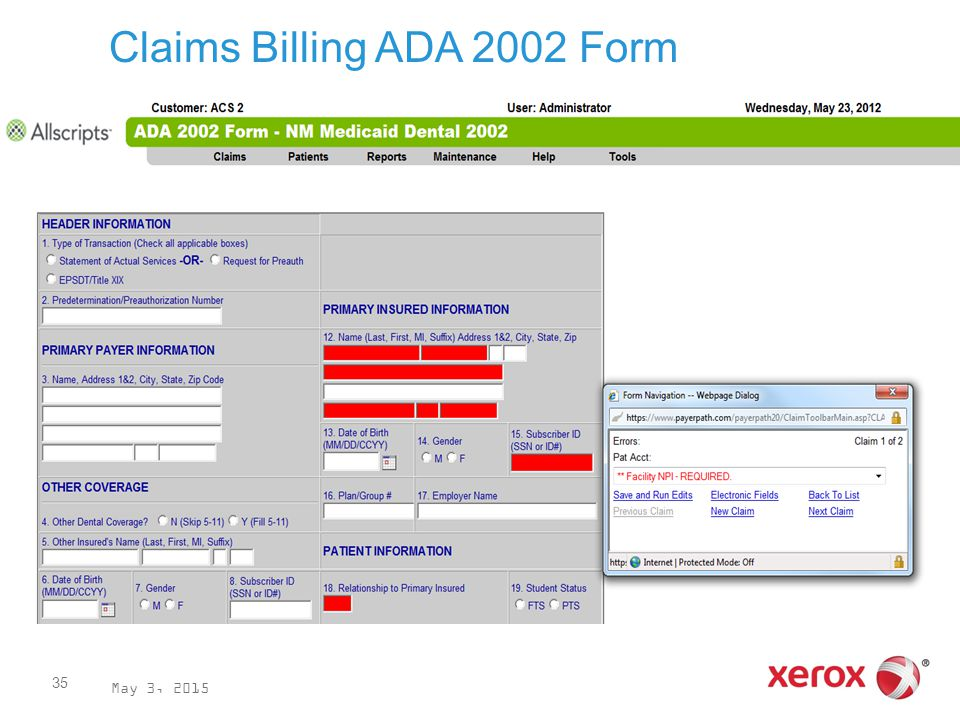 May 3, 2015 35 Claims Billing ADA 2002 Form