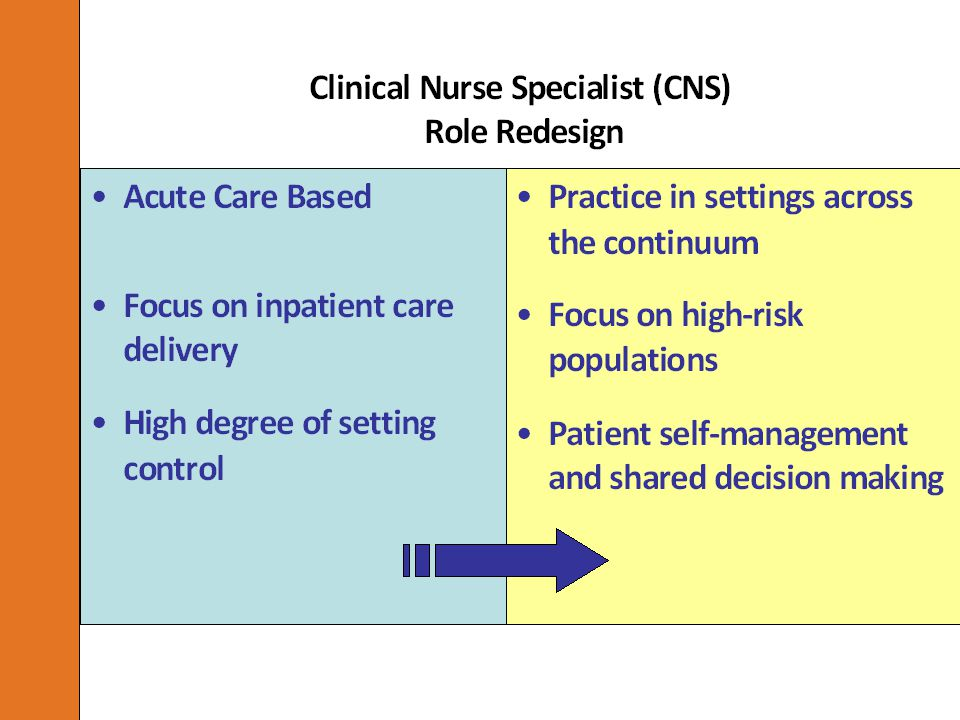 CNS Role Re-design Re-engineered an existing resource to address the needs of patients at high-risk for failure after discharge Shifted the focus to high risk populations across multiple care settings or the patient home