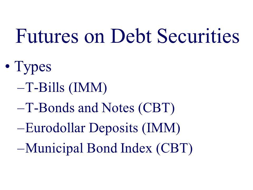 Futures on Debt Securities Types –T-Bills (IMM) –T-Bonds and Notes (CBT) –Eurodollar Deposits (IMM) –Municipal Bond Index (CBT)