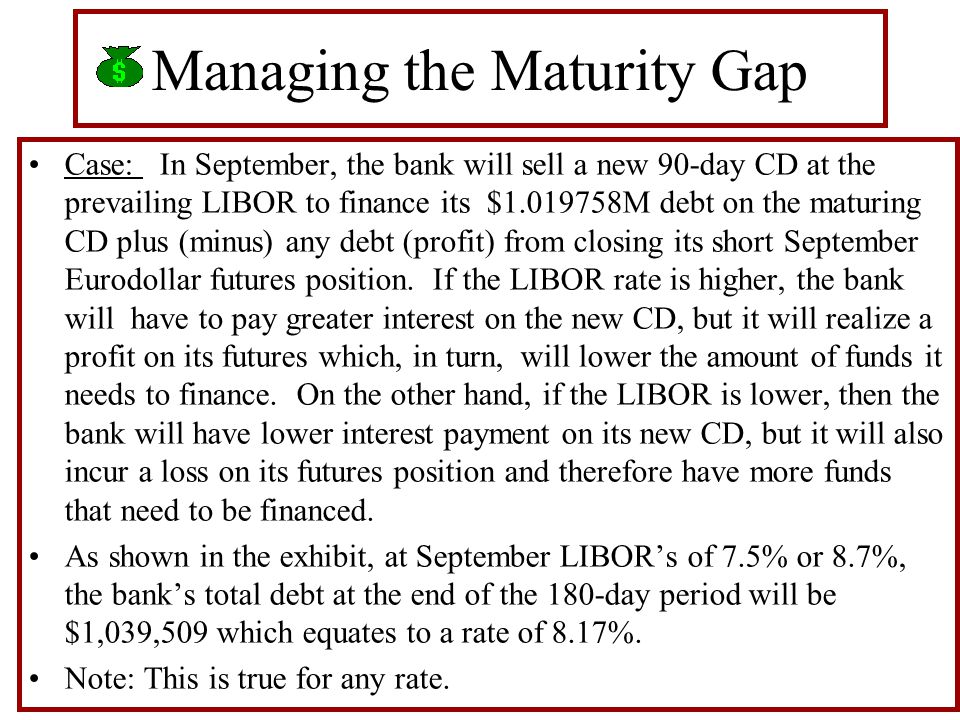 Managing the Maturity Gap Case: In September, the bank will sell a new 90-day CD at the prevailing LIBOR to finance its $1.019758M debt on the maturing CD plus (minus) any debt (profit) from closing its short September Eurodollar futures position.