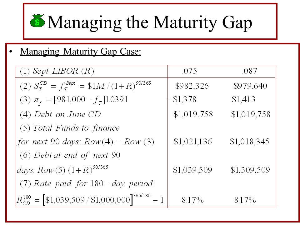 Managing the Maturity Gap Managing Maturity Gap Case: