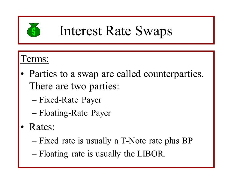 Interest Rate Swaps Terms: Parties to a swap are called counterparties. There are two parties: –Fixed-Rate Payer –Floating-Rate Payer Rates: –Fixed ra