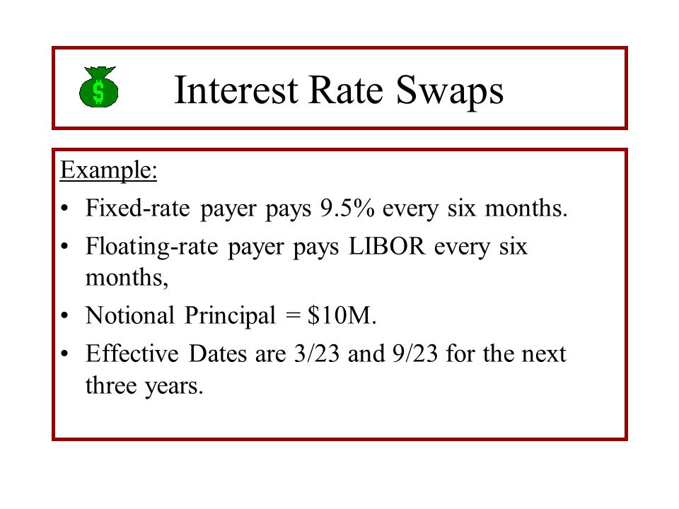 Interest Rate Swaps Example: Fixed-rate payer pays 9.5% every six months.