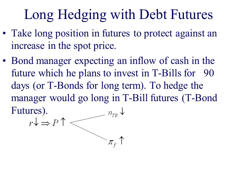 Long Hedging with Debt Futures Take long position in futures to protect against an increase in the spot price.