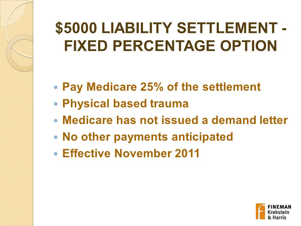 $5000 LIABILITY SETTLEMENT - FIXED PERCENTAGE OPTION Pay Medicare 25% of the settlement Physical based trauma Medicare has not issued a demand letter No other payments anticipated Effective November 2011