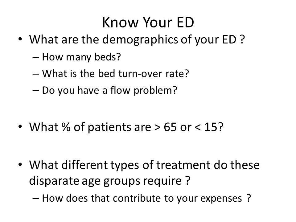 Know Your ED What are the demographics of your ED .