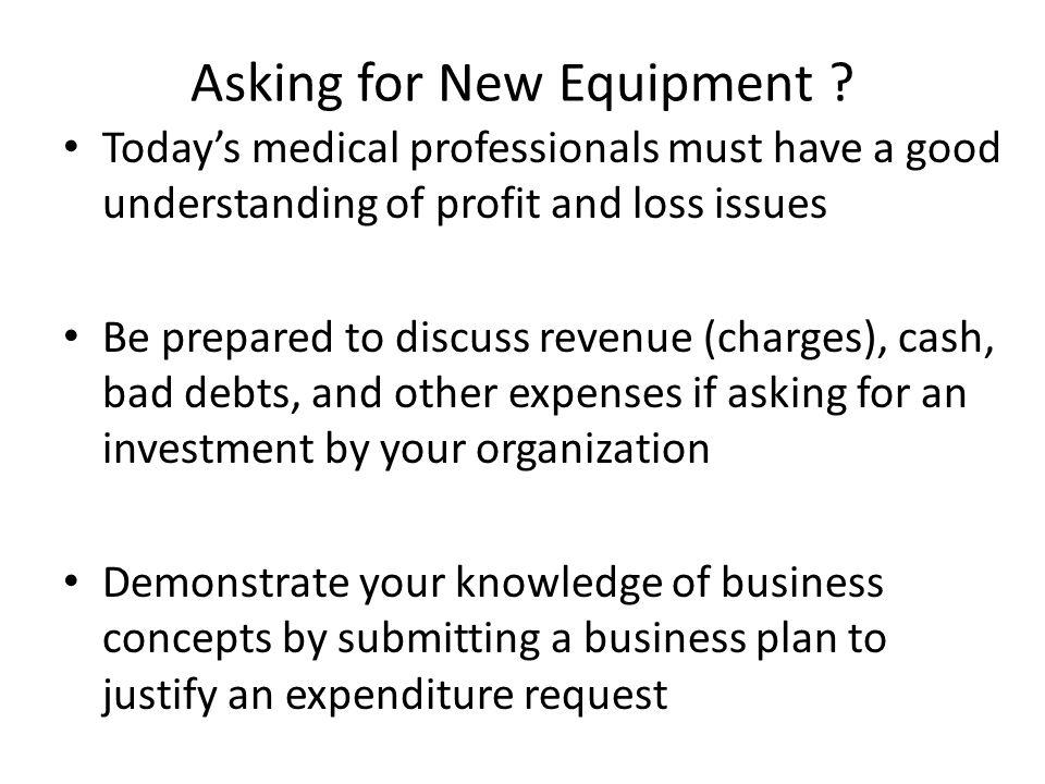 Asking for New Equipment .