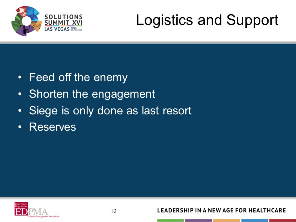 Logistics and Support Feed off the enemy Shorten the engagement Siege is only done as last resort Reserves 10