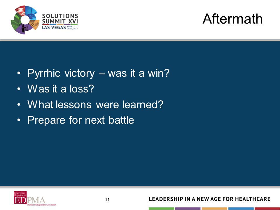 Aftermath Pyrrhic victory – was it a win? Was it a loss? What lessons were learned? Prepare for next battle 11