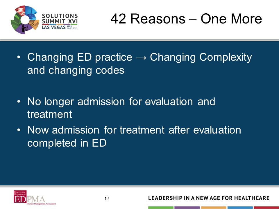 42 Reasons – One More Changing ED practice → Changing Complexity and changing codes No longer admission for evaluation and treatment Now admission for treatment after evaluation completed in ED 17