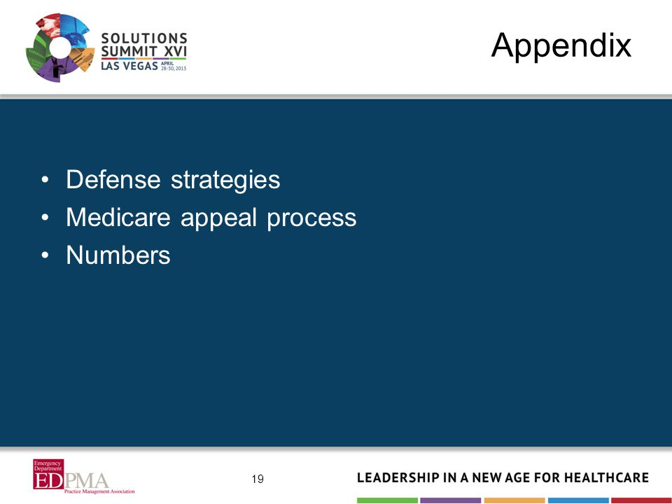 Appendix Defense strategies Medicare appeal process Numbers 19
