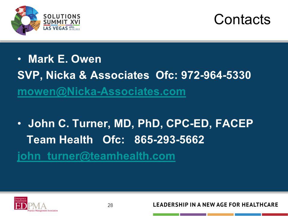 Contacts Mark E. Owen SVP, Nicka & Associates Ofc: 972-964-5330 mowen@Nicka-Associates.com John C.