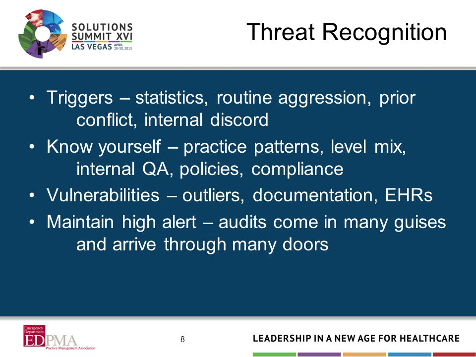 Threat Recognition Triggers – statistics, routine aggression, prior conflict, internal discord Know yourself – practice patterns, level mix, internal