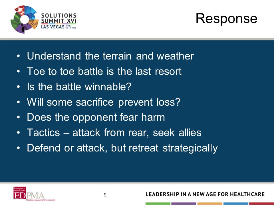 Response Understand the terrain and weather Toe to toe battle is the last resort Is the battle winnable? Will some sacrifice prevent loss? Does the op