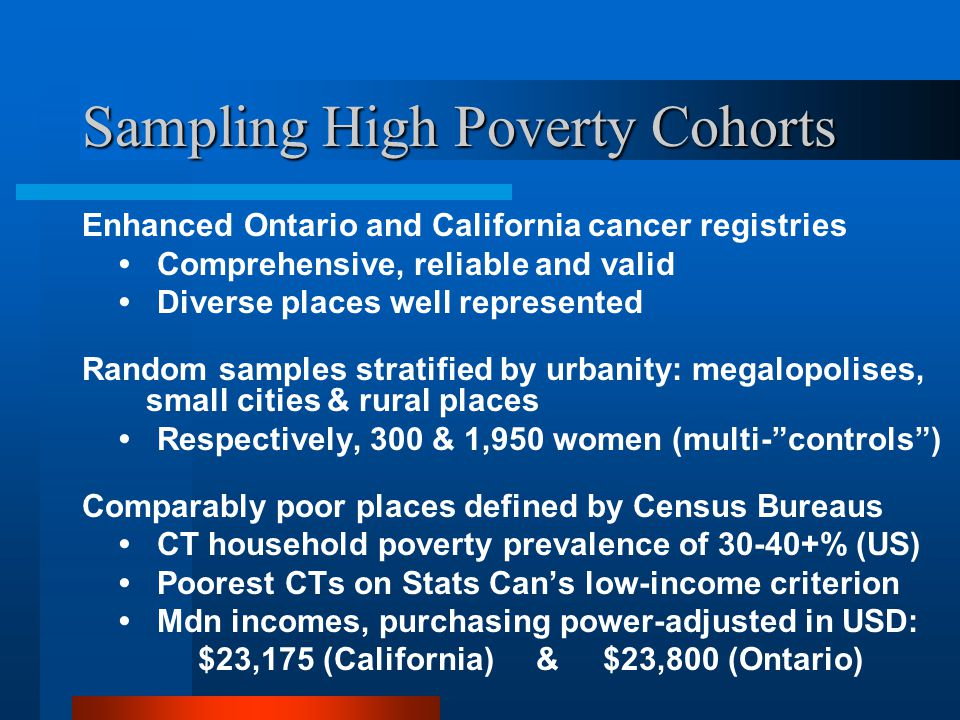Sampling High Poverty Cohorts Enhanced Ontario and California cancer registries Comprehensive, reliable and valid Diverse places well represented Random samples stratified by urbanity: megalopolises, small cities & rural places Respectively, 300 & 1,950 women (multi- controls ) Comparably poor places defined by Census Bureaus CT household poverty prevalence of 30-40+% (US) Poorest CTs on Stats Can's low-income criterion Mdn incomes, purchasing power-adjusted in USD: $23,175 (California) & $23,800 (Ontario)