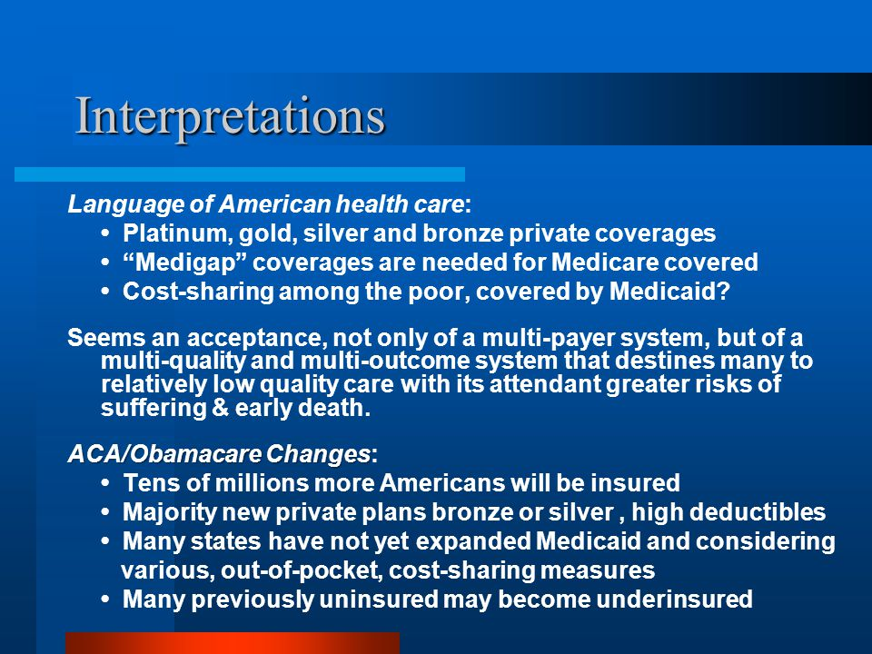 Interpretations Language of American health care: Platinum, gold, silver and bronze private coverages Medigap coverages are needed for Medicare covered Cost-sharing among the poor, covered by Medicaid.