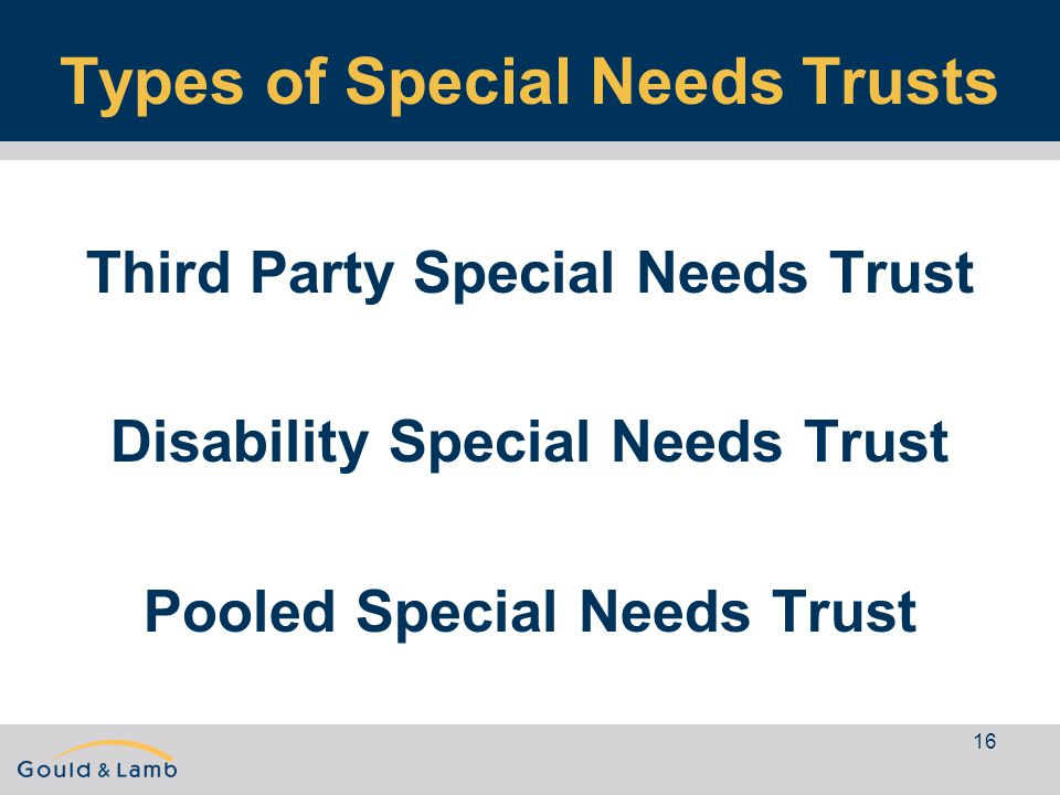 16 Types of Special Needs Trusts Third Party Special Needs Trust Disability Special Needs Trust Pooled Special Needs Trust