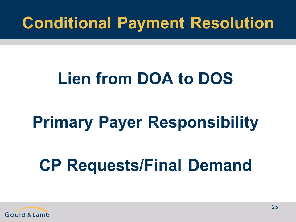 25 Conditional Payment Resolution Lien from DOA to DOS Primary Payer Responsibility CP Requests/Final Demand