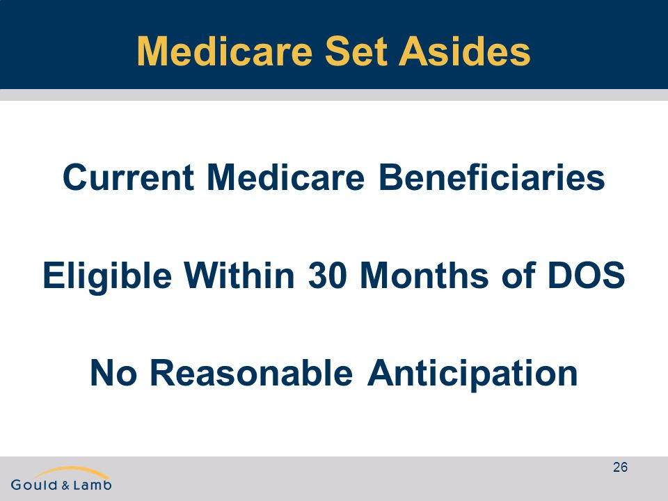 26 Medicare Set Asides Current Medicare Beneficiaries Eligible Within 30 Months of DOS No Reasonable Anticipation