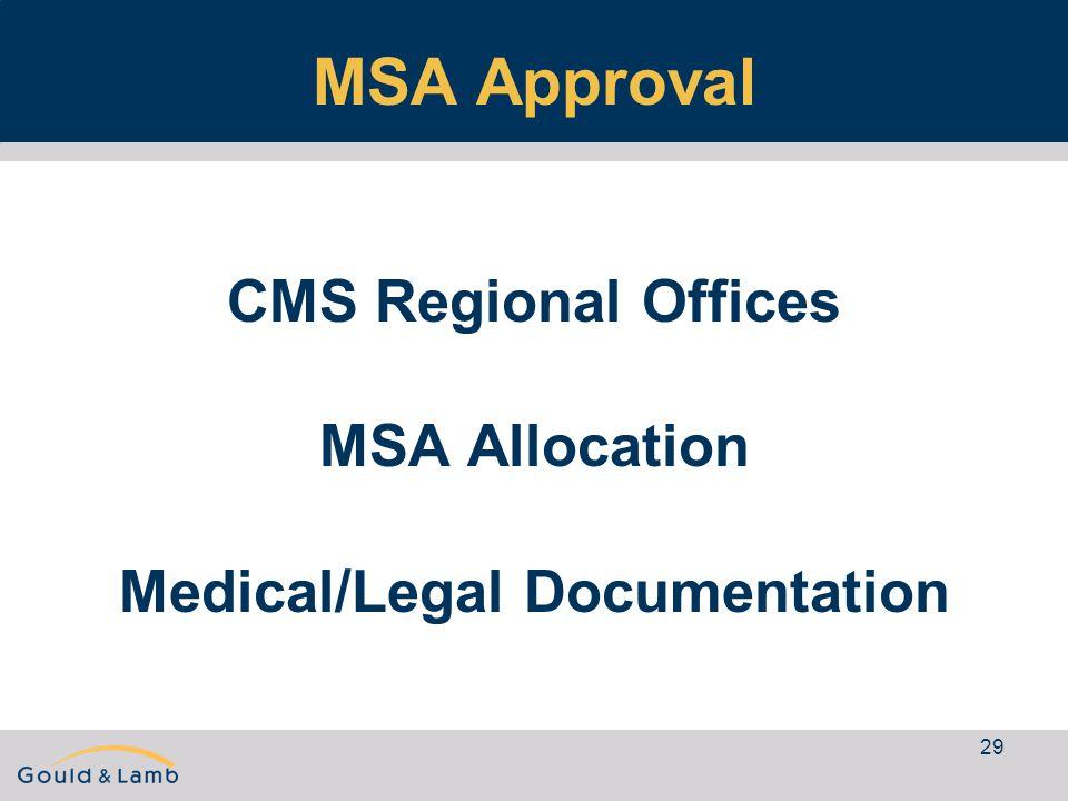 29 MSA Approval CMS Regional Offices MSA Allocation Medical/Legal Documentation