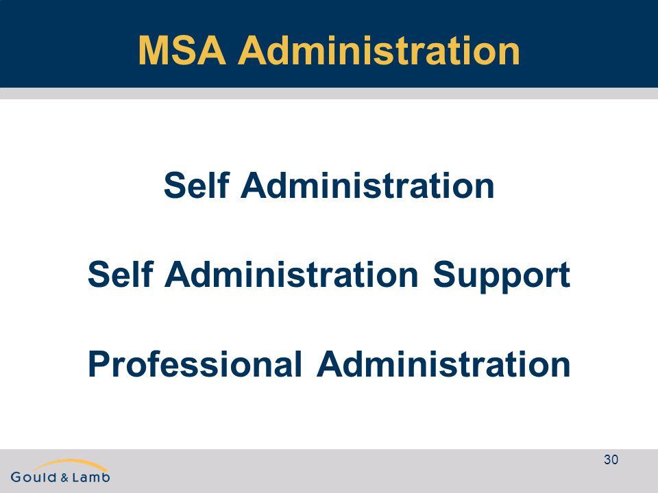 30 MSA Administration Self Administration Self Administration Support Professional Administration