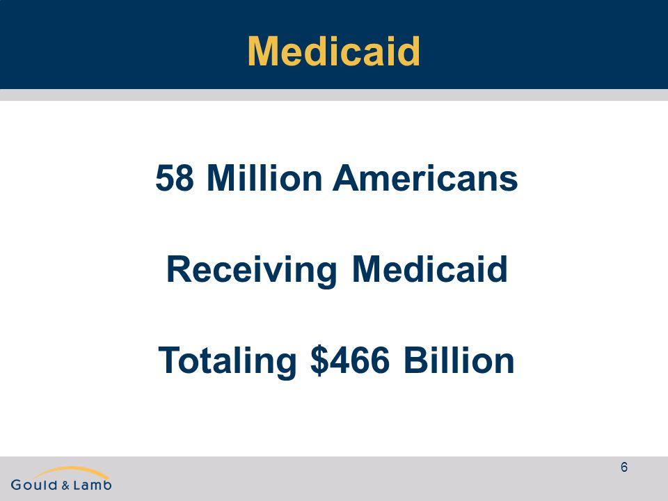 6 Medicaid 58 Million Americans Receiving Medicaid Totaling $466 Billion