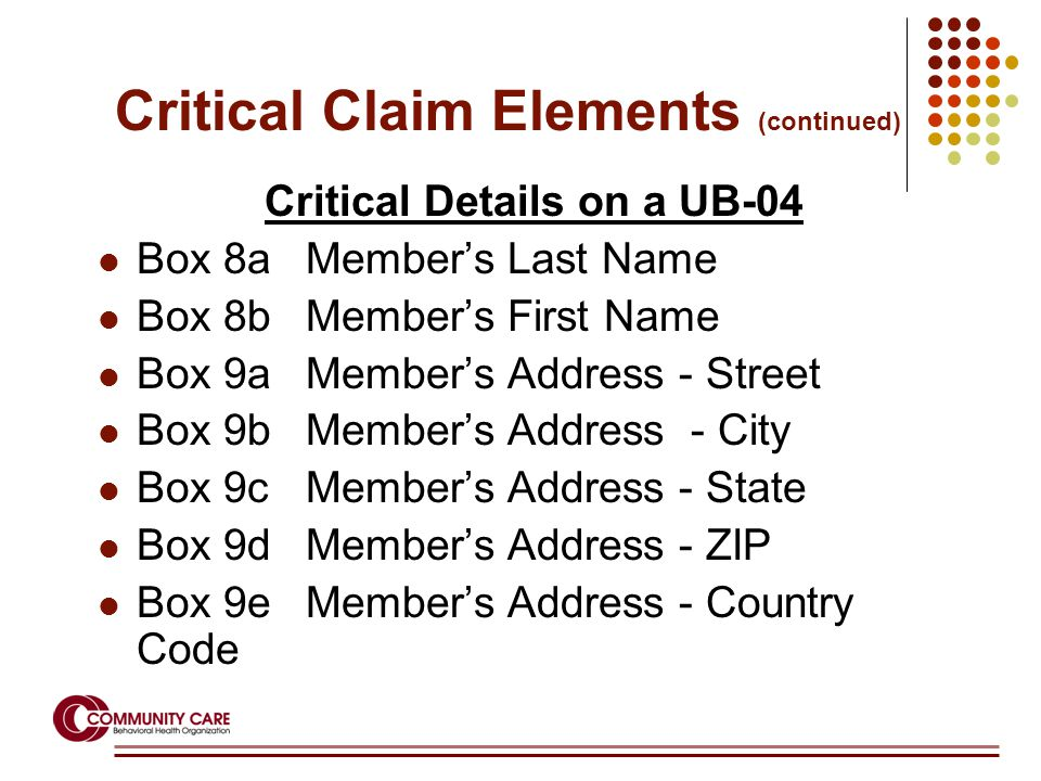 Critical Details on a UB-04 Box 8aMember's Last Name Box 8bMember's First Name Box 9aMember's Address - Street Box 9bMember's Address - City Box 9cMem