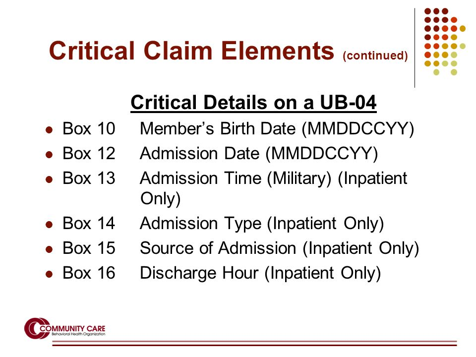 Critical Details on a UB-04 Box 10Member's Birth Date (MMDDCCYY) Box 12Admission Date (MMDDCCYY) Box 13Admission Time (Military) (Inpatient Only) Box