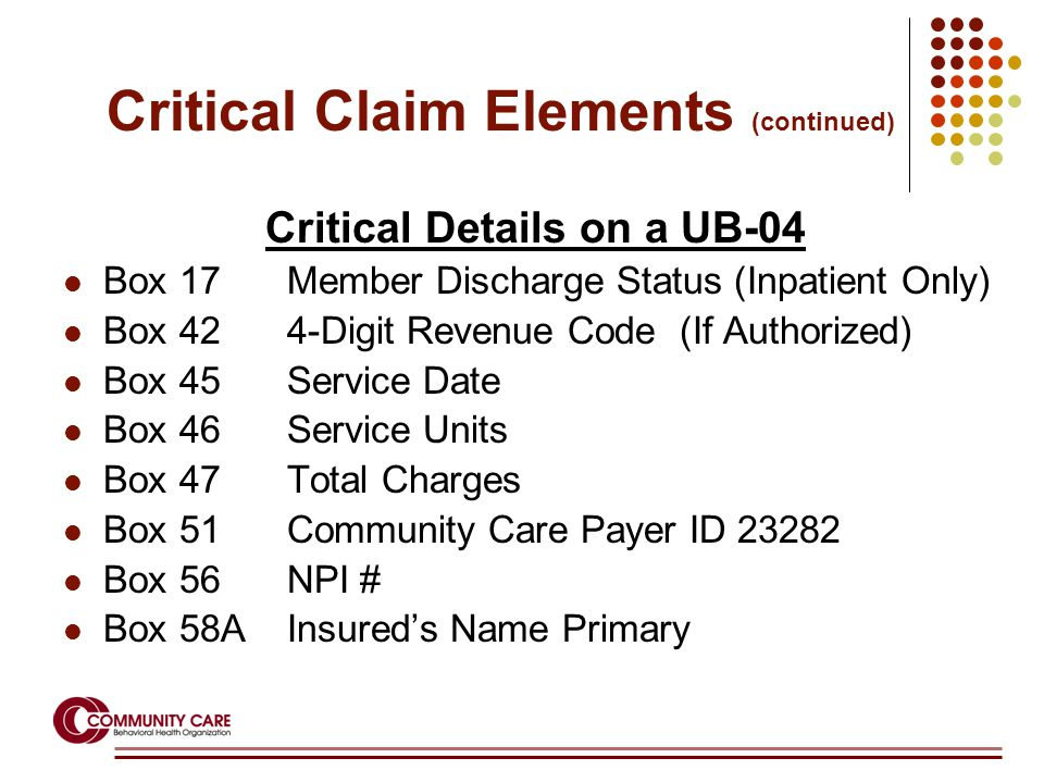 Critical Details on a UB-04 Box 17Member Discharge Status (Inpatient Only) Box 424-Digit Revenue Code (If Authorized) Box 45Service Date Box 46Service Units Box 47 Total Charges Box 51Community Care Payer ID 23282 Box 56NPI # Box 58AInsured's Name Primary Critical Claim Elements (continued)