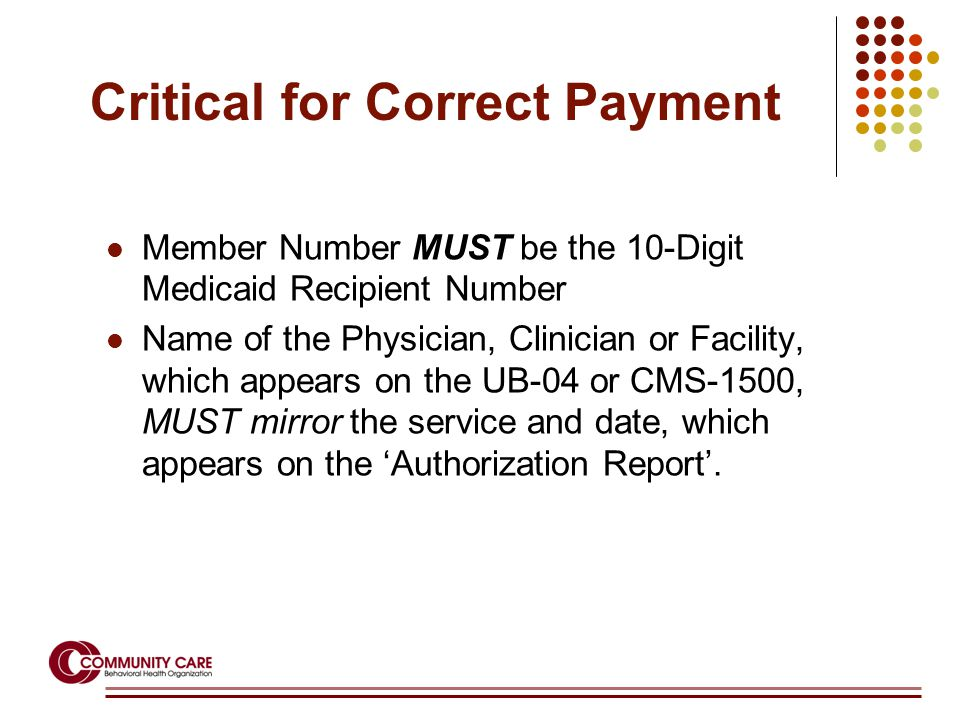 Critical for Correct Payment Member Number MUST be the 10-Digit Medicaid Recipient Number Name of the Physician, Clinician or Facility, which appears