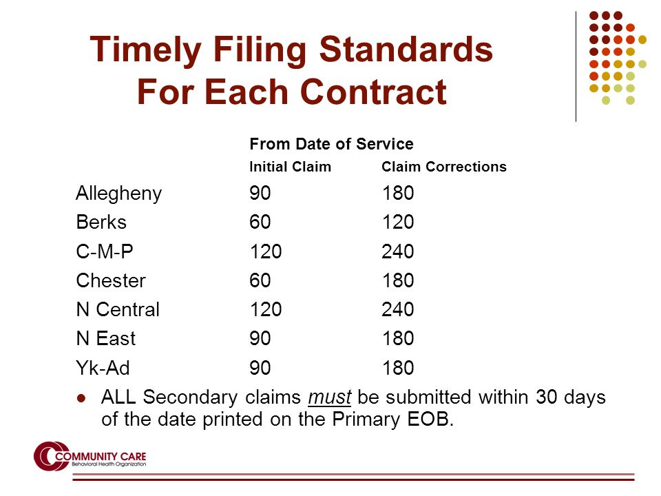 Timely Filing Standards For Each Contract From Date of Service Initial ClaimClaim Corrections Allegheny90180 Berks60120 C-M-P120240 Chester60180 N Central120240 N East90180 Yk-Ad90180 ALL Secondary claims must be submitted within 30 days of the date printed on the Primary EOB.