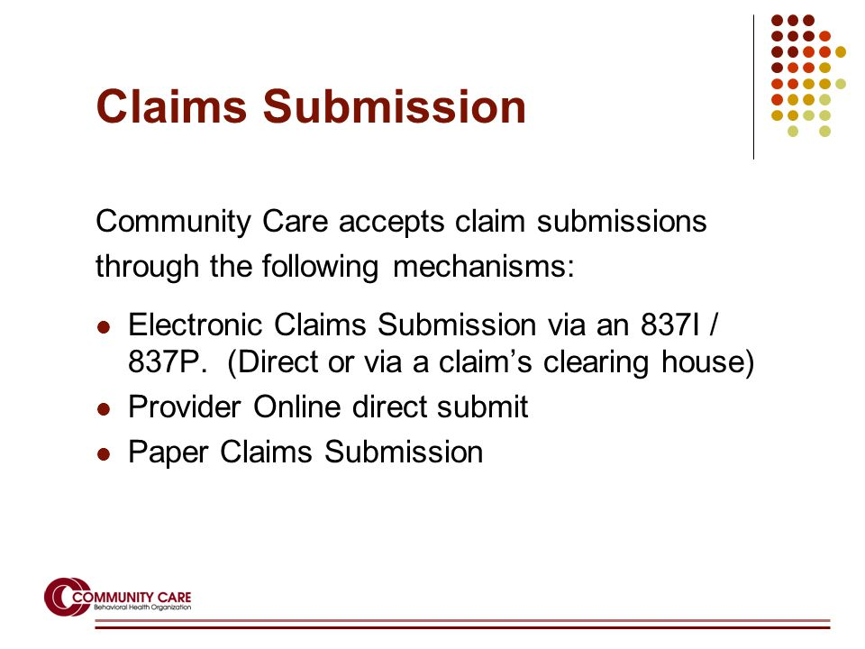 Claims Submission Community Care accepts claim submissions through the following mechanisms: Electronic Claims Submission via an 837I / 837P.