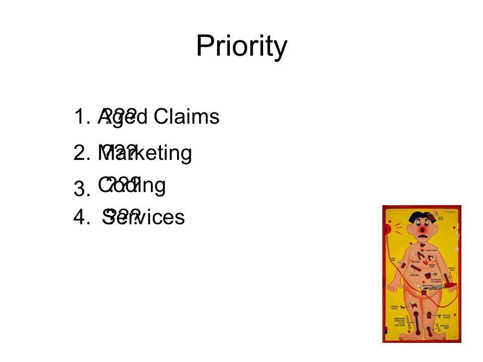 Priority 1. Aged Claims Marketing2. 3. Coding 4.Services