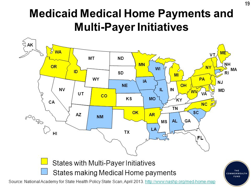 19 Medicaid Medical Home Payments and Multi-Payer Initiatives Source: National Academy for State Health Policy State Scan, April 2013.