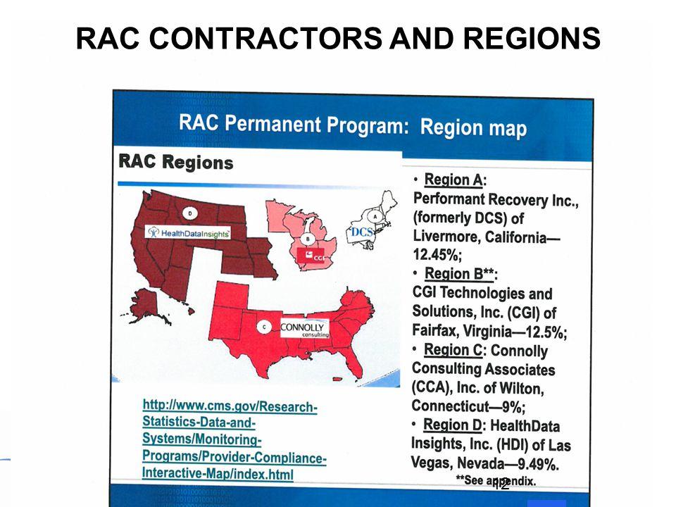 RAC CONTRACTORS AND REGIONS 12