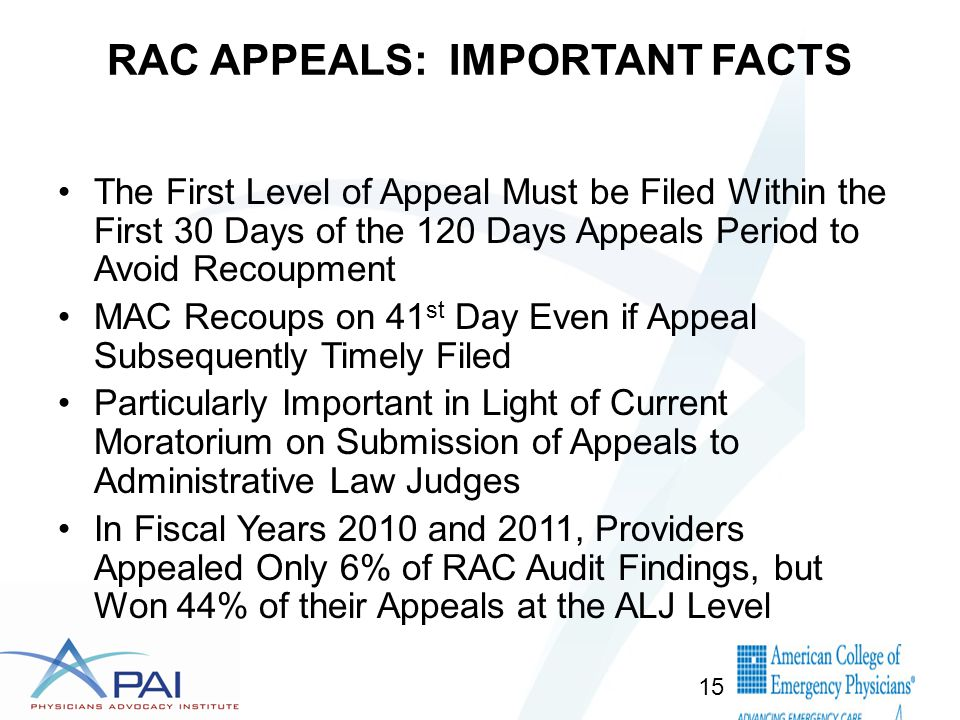 RAC APPEALS: IMPORTANT FACTS The First Level of Appeal Must be Filed Within the First 30 Days of the 120 Days Appeals Period to Avoid Recoupment MAC Recoups on 41 st Day Even if Appeal Subsequently Timely Filed Particularly Important in Light of Current Moratorium on Submission of Appeals to Administrative Law Judges In Fiscal Years 2010 and 2011, Providers Appealed Only 6% of RAC Audit Findings, but Won 44% of their Appeals at the ALJ Level 15