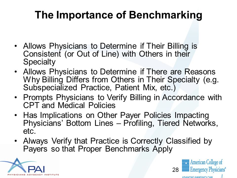 The Importance of Benchmarking Allows Physicians to Determine if Their Billing is Consistent (or Out of Line) with Others in their Specialty Allows Physicians to Determine if There are Reasons Why Billing Differs from Others in Their Specialty (e.g.
