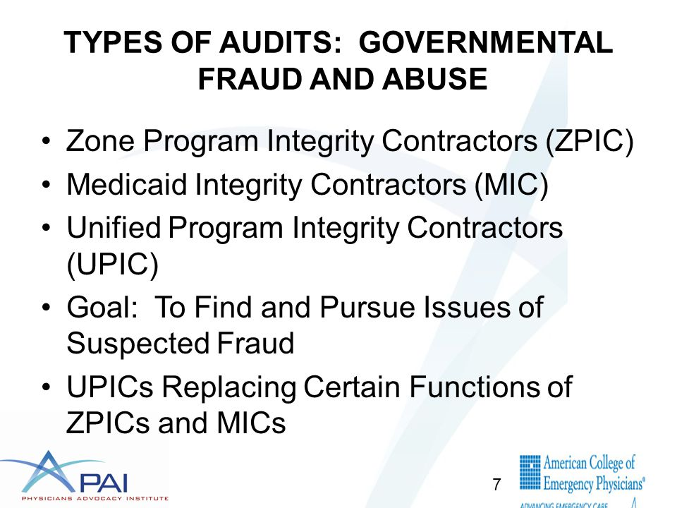 TYPES OF AUDITS: GOVERNMENTAL FRAUD AND ABUSE Zone Program Integrity Contractors (ZPIC) Medicaid Integrity Contractors (MIC) Unified Program Integrity