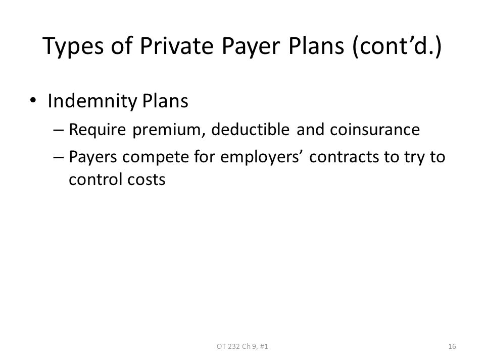 Types of Private Payer Plans (cont'd.) Indemnity Plans – Require premium, deductible and coinsurance – Payers compete for employers' contracts to try