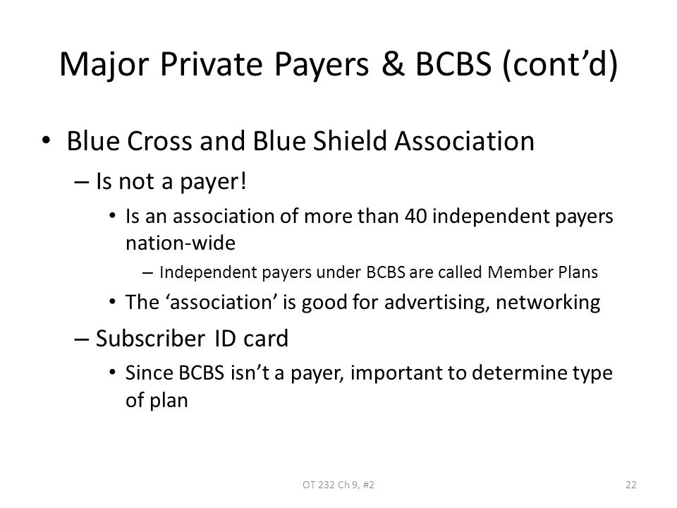 Major Private Payers & BCBS (cont'd) Blue Cross and Blue Shield Association – Is not a payer! Is an association of more than 40 independent payers nat